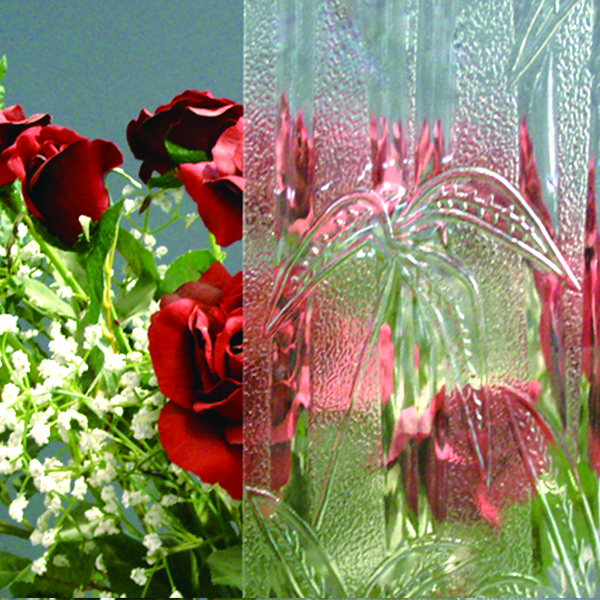 Clear and Colored patterned glass/Rolled Glass/Figured Glass, from 3mm to 6mm, different designs for decoration use