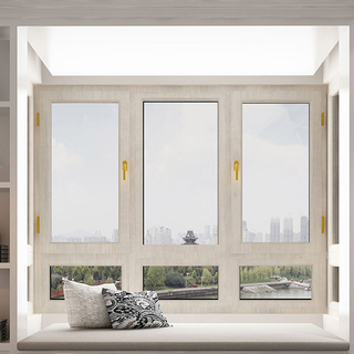 Wooden White 4 Panel Tempered Glasswith Steel Screen Window Dust Protection